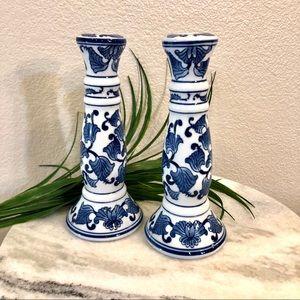 "Candlesticks Blue & White Design 9.5"" Ceramic Set"